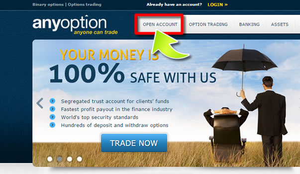 How to Open an Account on AnyOption - Method 1