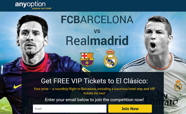 Participate in the Anyoption Competition to Get Free VIP Tickets to El Clásico