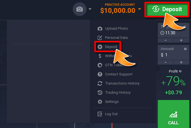 How to Make a Deposit on IQOption - Method 1
