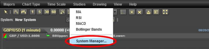 24オプションのテクニカルチャート、System Managerを開く