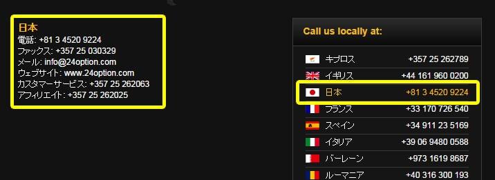 24オプションの日本サポート