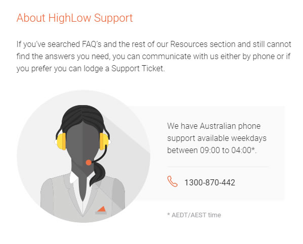 The telephone support in High-Low Australia