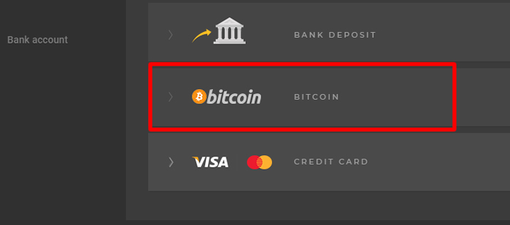 High-Low Australia – Deposit with Bitcoin1