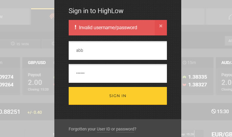 High-low Australia I cannot login