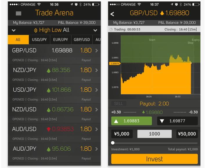 ハイローオーストラリア(Highlow Australia)iOS8に対応アプリ取引画面