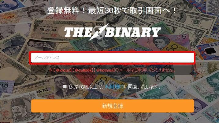 THEBINARYの口座開設1