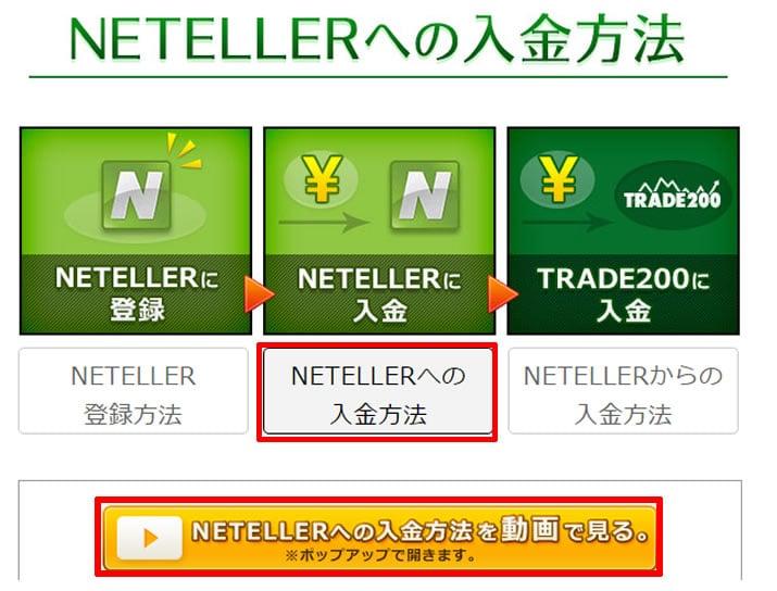 トレード200 NETELLER入金動画