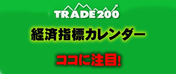 トレード200に新しい機能として経済指標カレンダーが追加