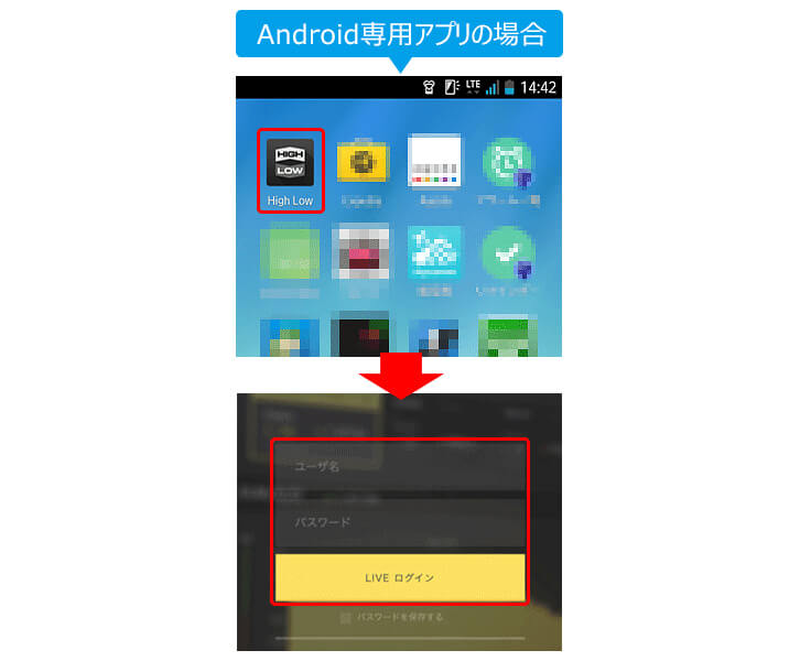 Androidアプリからログイン